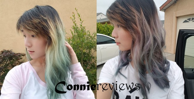 blue purple green hair