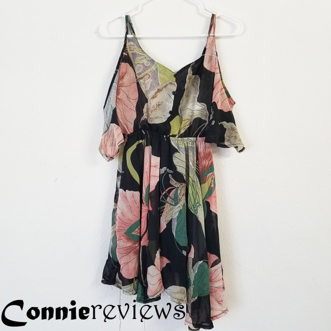 Elbow-Sleeve Off SHoulder Floral A-line Dress