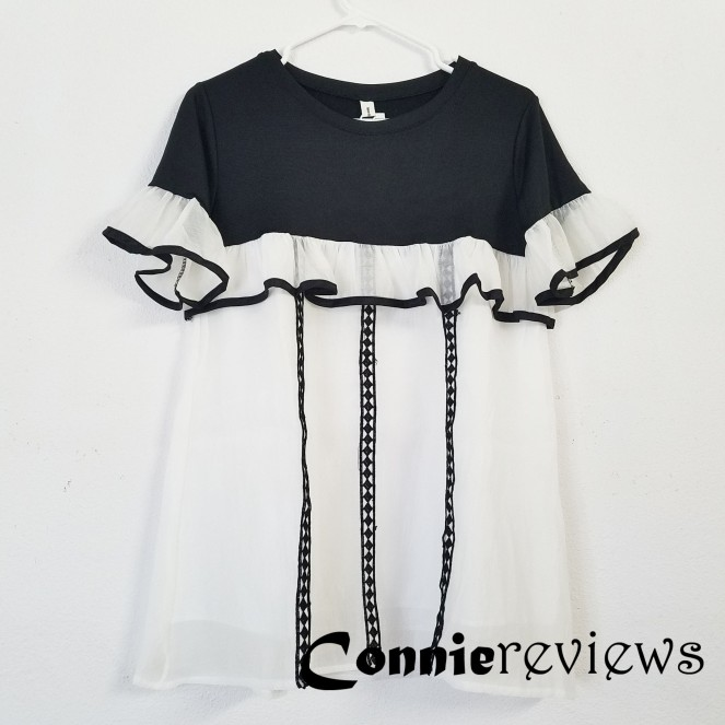 Panel Frilled Short-Sleeve Minidress