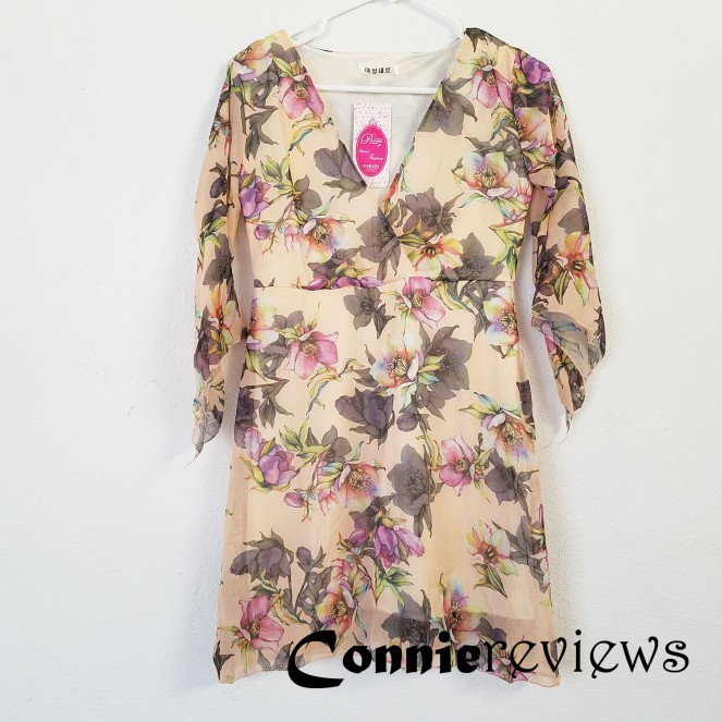 Short-Sleeve Floral Printed V-Neck A-Line Dress